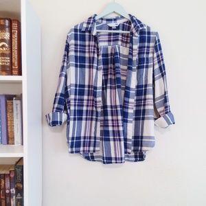 Oversized Blue Plaid Button Down Shirt